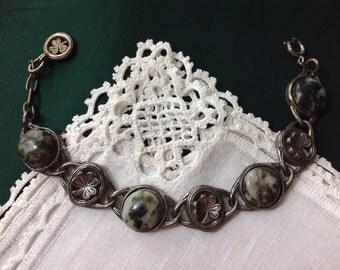 Vintage Sol d' Or Miracle Bracelet, Marbled Mossy Agate Stones, Antiqued Pewter, 7.5-8.5 in, 19-21.5 cm