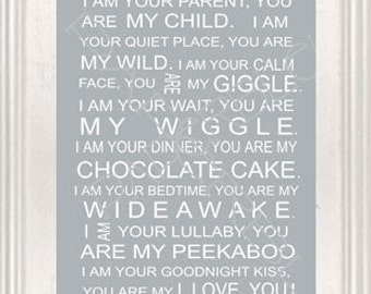 "Nursery or Child's Room Print - ""You Are My Wiggle""  -Instant Printable Download - - Digital Typography 8x10"