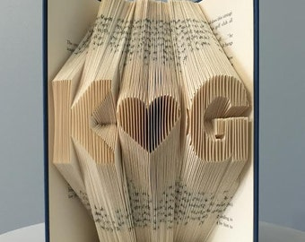 Custom Anniversary Gift For Him - Folded Book Art (2 initials + heart) - Paper First Anniversary Gift For Husband For Boyfriend For Men