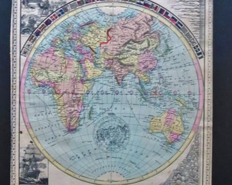 1889 Tunison Maps of Western & Eastern Hemisphere ( 2 Items )