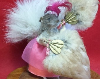 Taxidermy Rat, Vegas Showgirl Glass Dome Display. Burlesque-Risque-Orthropomorphic