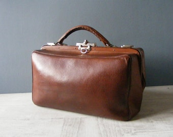French Antique Brown Leather Doctor Bag .