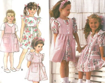 8889 Simplicity Sewing Pattern Girls Dress Pinafore Jumper UNCUT Size 2 3 4