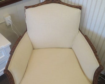 SOLD! Gorgeous Newly upholstered Vintage Chair Claw Foot