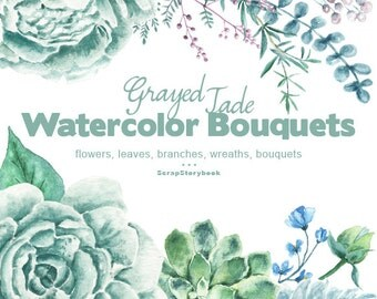 Grayed Jade Bouquets - digital printable clipart  -watercolor  bouquet, flowers, wreath, peonies