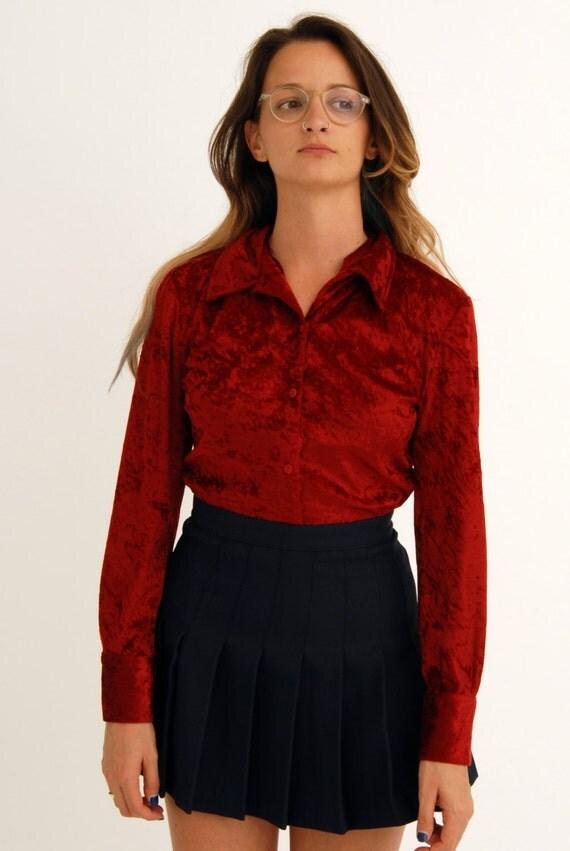 Vintage red crushed velvet shirt blouse grunge button up 90s for Red velvet button up shirt