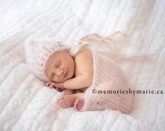 Mohair knitted newborn hat