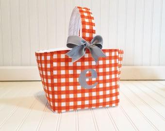 Easter basket- Orange Gingham basket- boy easter basket- boy easter tote- easter caddy personalized easter basket