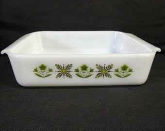 "Fire King Anchor Hocking Meadow Green 8"" Square Glass Baking Dish, 1960's"