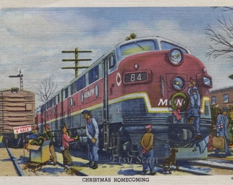 "Vintage ""MONON"" Christmas Homecoming Postcard (Digital Scan)"