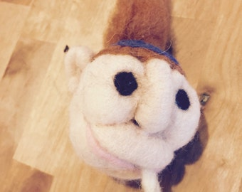 Hippie needle felted key chain