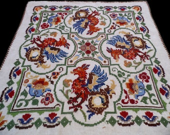Vintage square linen tablecloth with DRAGONS / Griffins and floral embroidery embroidered dragon table cloth Crocheted edging
