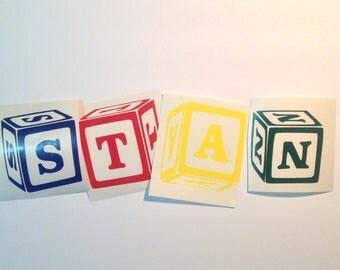 DIY Personalized Wooden Block Initial Vinyl Decals Stickers