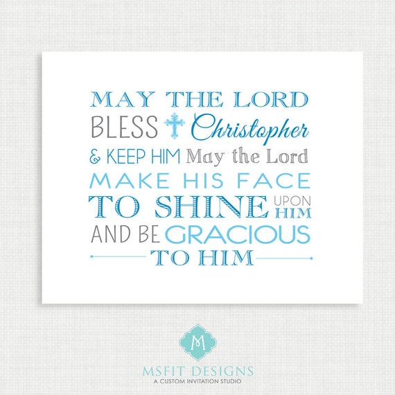 Baptism Prayer - Prayer Poster - Nursery Art - Digital FIle - Wall Art