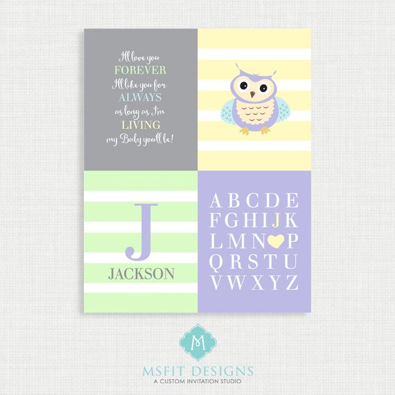 Owl Nursery Art - Owl Nursery Decor - Owl Nursery Print -Pastel Nursery Art - Colours Customizable 16x20
