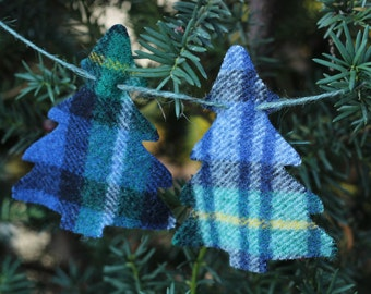 Christmas Garland or Bunting, Blue, Green and Yellow Plaid Garland, Old Wool New