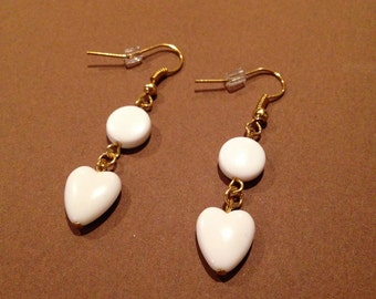 Earrings.  White Hearts.  Gold Plated Ear Wires.
