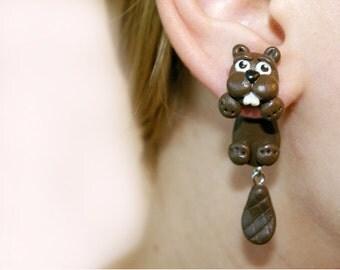 brown beaver Dangle stretchers,dangling earplugs,unusual Piercing 16g,12g,8g,6g,4g,2g,0g,00g,1/2,9/16,5/8, 3/4,13/16 earrings, Stainless