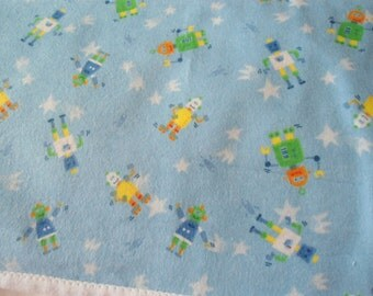 Burp Cloth with robots on blue background