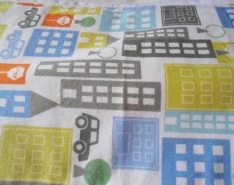 Burp Cloth with buildings and cars on white back ground