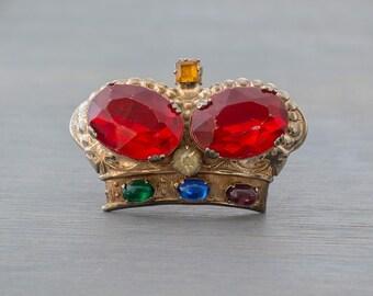Sterling Silver Royal Crown Brooch - Vintage 1940s-1950s Pin - Vermeil Gold Wash