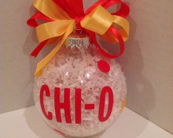 Sorority ornament Chi Omega, Tri Delta,A Chi O, Christmas ornament Greek letters