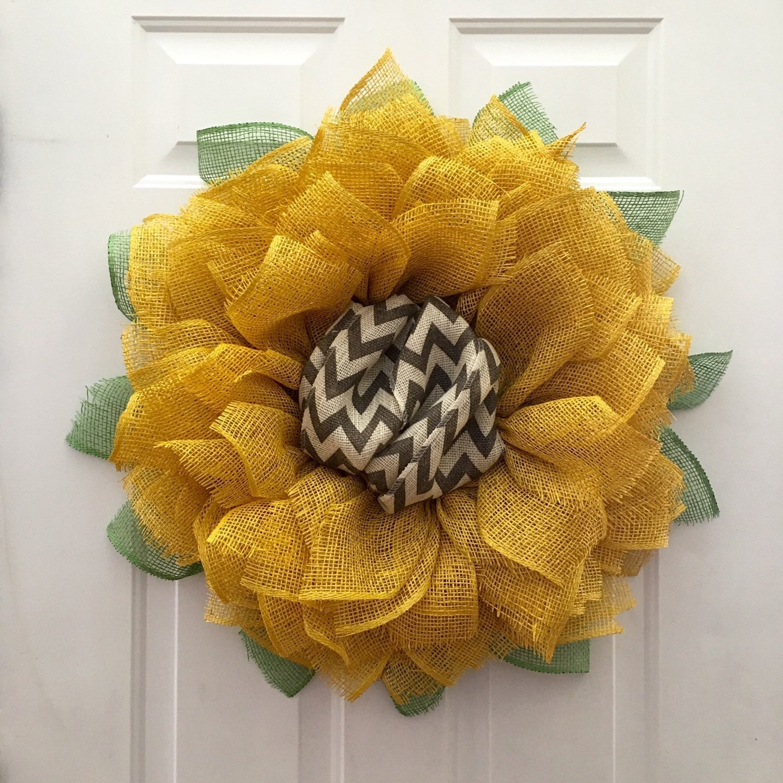 Sunflower Chevron Wreath Burlap Sunflower By
