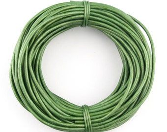 Green Metallic Round Leather Cord 1mm 10 meters (11 yards)