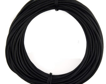 Black Natural Dye Round Leather Cord 2mm 10 Feet