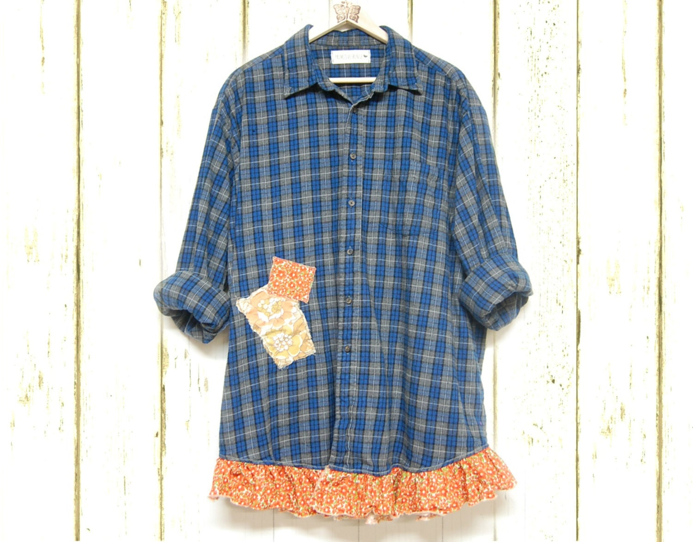 Plus size flannel plaid shirt shabby boho chic by for Plus size plaid flannel shirt