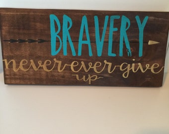 Bravery - Never ever give up sign