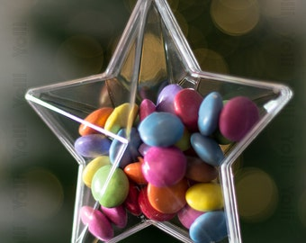 x5 Clear Plastic Star Shaped Christmas Decorations 80mm Ornament Baubles