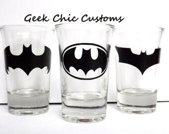 Batman Shot Glass Dark Knight Gotham Inspired, Justice League Joker Superman Bruce Wayne Robin, Geek Nerd Comics Games, Buy 2 Get 1 FREE!