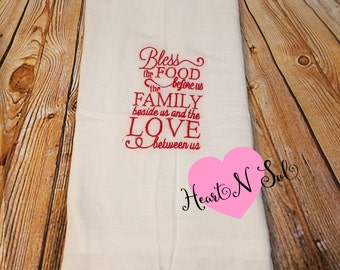 Baking towel, Tea Towel, Bless the Food before us, Kitchen Towel, Bread Towel, Embroidered hand towel, Dish cloth