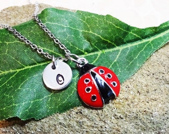 LADYBUG NECKLACE - personalized with initial charm - choice of chains - red and black ladybird necklace