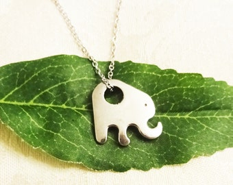 STAINLESS STEEL ELEPHANT necklace - surgical stainless steel non allergenic, sensitive skin, non tarnish chain and elephant