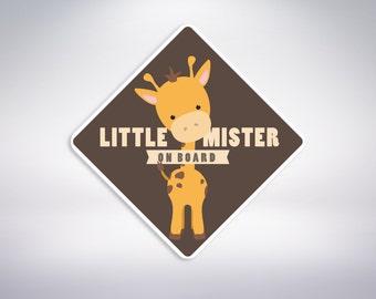 Little Mister on board - GIRAFFE boy Car Sticker. Baby on board, car sticker.