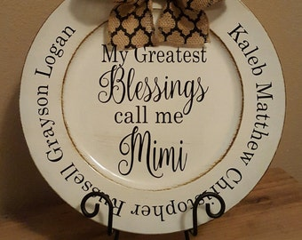 Personalized Greatest Blessings Mimi Charger Plate with names of grandchildren, Mothers Day, Mother In Law, gifts under 20, Charger Plate