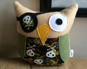 Camo Pirate Owl Plushie- Small Plush Owl- Small Camo Owl Pirate- Soft Green