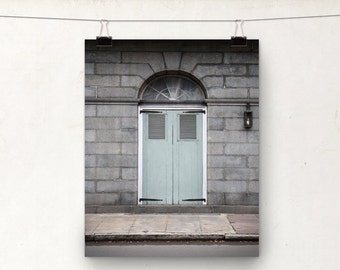 Door Photograph, NOLA Architecture, Art Print, Blue Gray, New Orleans