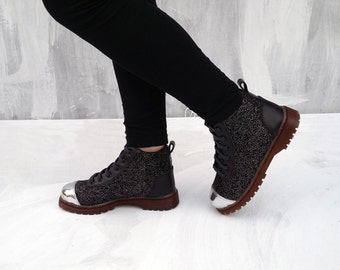 black silver glittering fabric shoes black leather US 8 women handmade Rangkayo sneakers ankle boots booties