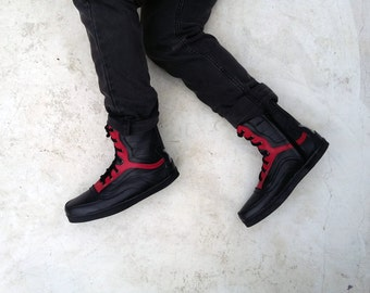 black red leather boots handmade shoes Marapulai Sneakers Preorder Merapi unisex