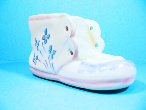 baby shoe planter ceramic blue pink and white vintage infant