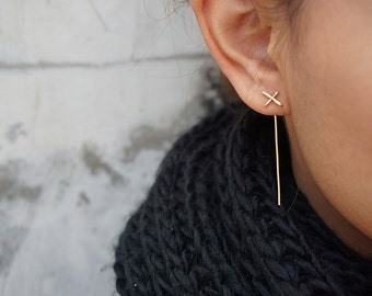 Gold X Ear Jackets, Thin Cross Earrings, Bar, Minimalist Ear Jackets, Rose Gold Gold Filled Sterling Silver, Bridesmaids Gifts