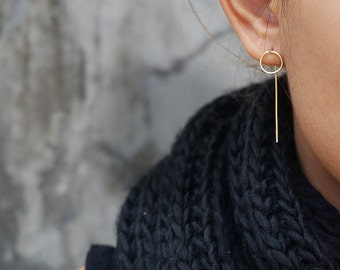 Super Minimal Circle Ear Jacket Earrings, Karma Earrings, Circle Earrings, Gold Long , Rose Gold Filled, Gold Filled, Sterling Silver