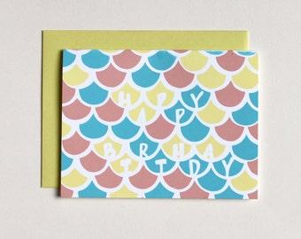 Clearance - Pastel Waves Birthday Card - Happy Birthday Card - Birthday - Child's Birthday Wishes - Simple birthday - screenprinted card