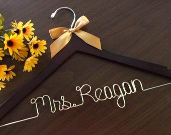 Gold wire, Golden hanger, Ships in 1-3 days, Wedding hanger, wedding photos, bridal, Wire hanger with ribbon, name hanger, bridal hanger,