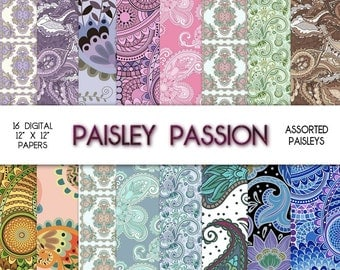 16 Paisley Patterned Digital Papers | Instant Download