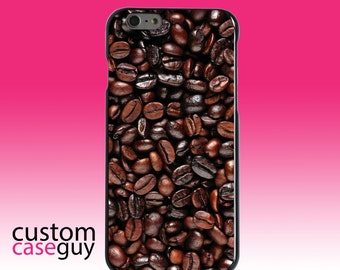 Hard Snap-On Case for Apple 5 5S SE 6 6S 7 Plus - CUSTOM Monogram - Any Colors - Dark Brown Coffee Beans