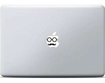 Hipster Face MacBook Sticker, Vinyl decal, MacBook Pro Sticker, MacBook Air sticker, Laptop Decal, Face with mustache and glasses for apple